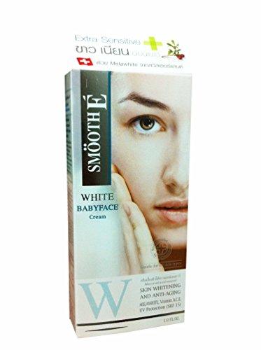 Smooth E White Babyface Skin Whitening and Anti-aging Cream. Melawhite, Vitamin A,c,e, Uv Protection (Srf 15). (1 Floz./ Pack)