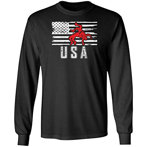 Teechopchop Wrestling US Flag Proud America Vintage USA Wrestler Long Sleeve T-Shirt