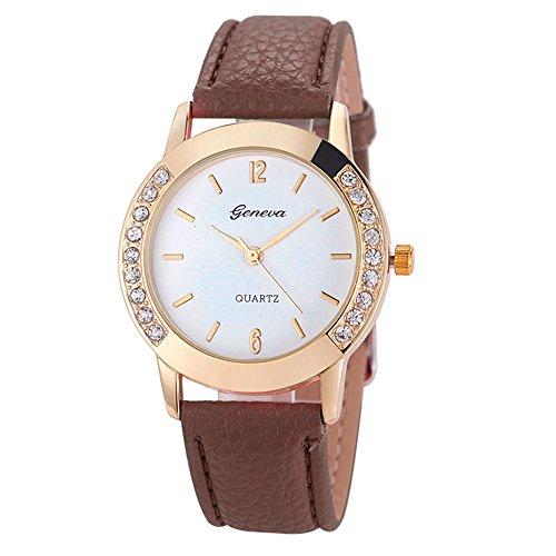 Watch, Womens Watch,Geneva Women Diamond Analog Quartz Wrist Watch Retro Exquisite Luxury classic Bracelet Casual business Watches For Ladies Teen Girls (Brown)
