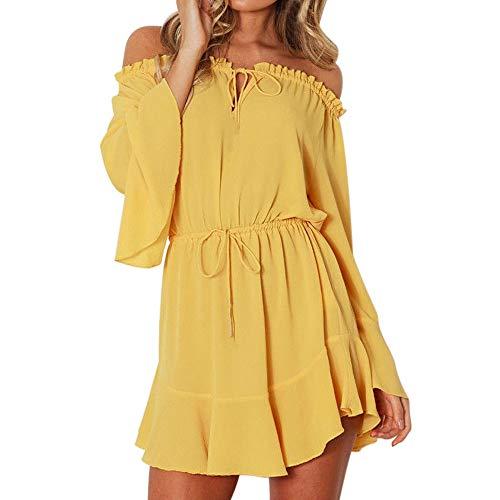 (Sunhusing Women's Solid Color O-Neck Buttons Bundle Long Sleeve Dress Sexy Backless High Waist Mini Dress (M, 1)