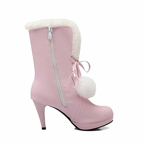 Heels Women's Mid Material Zipper Allhqfashion Assorted Pink Top Soft High Boots Color nSFWq1R