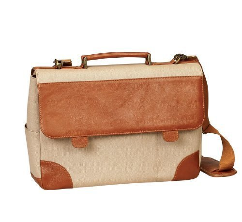 - BELLINO P4724.Tan Leather & Canvas 15