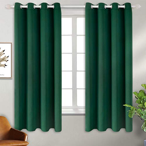 BGment Blackout Curtains - Grommet Thermal Insulated Room Darkening Bedroom and Living Room Curtains, Set of 2 Decorative Curtain Panels (52 x 63 Inch, Emerald Green)
