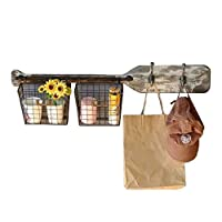 MOM Home Storage Shelves,Office Furniture Stands Boat Paddle Wall Hanging Wood and Iron Industrial Retro Design with 2 Hooks 2 Hanging Baskets Bedroom Space Saving Holders