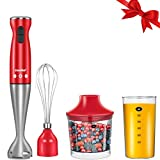 Comfee 2-Speed Easy to Use Electric Immersion Hand Blender with Chopper, Whisk, Beater for Soups, Smoothie, Baby Food (RED) Review