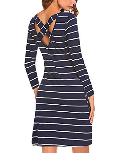 Myobe Women's Casual Striped Tshirt Dress Junior Long Sleeve Criss Cross T Shirt Mini Dresses with Pockets(Blue,M