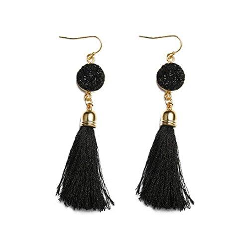 Clearance! Elogoog Women Girls Vintage Resin Tassel Dangle Stud Earrings Bohemia Jewelry (Black) (Beaded Necklace Clearance Accessories Jewelry)