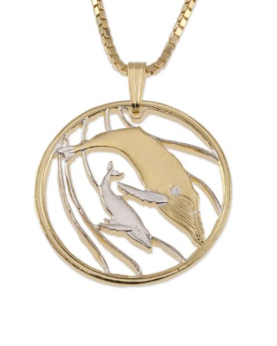 Humpback Whale Pendant & Necklace, Tonga Hand Cut Coin