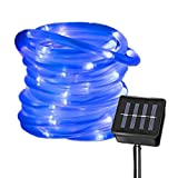 feierna Solar Rope Lights Outdoor, Fairy Rope String Lights Waterproof 33ft/10m 100LED Rope Tube Strip Lights for Christmas Wedding Halloween Patio Party Decoration (Blue)