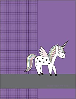 graph paper 4x4 grid large graph paper with purple unicorn cover
