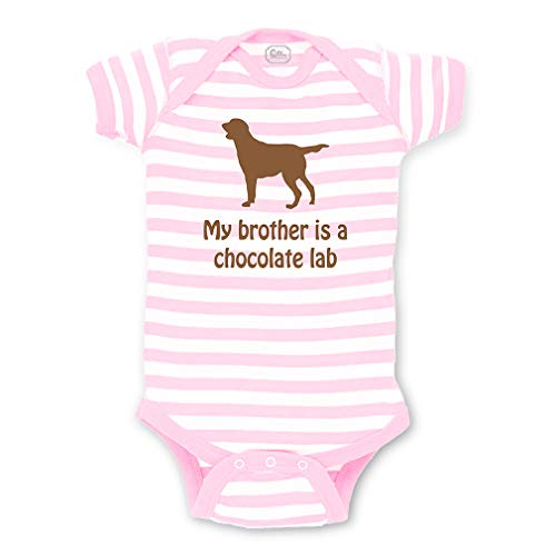 My Brother is A Chocolate Lab Short Sleeve Envelope Neck Boys-Girls Cotton Baby Fine Stripes Bodysuit - White Soft Pink, 12 Months