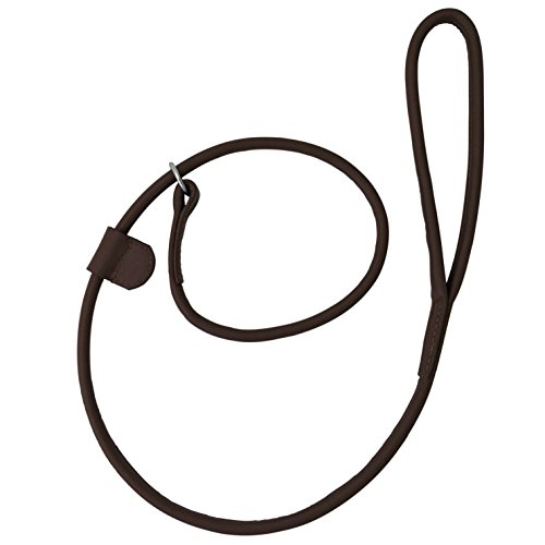 Hand-crafted Brown Soft Leather Dog Slip Over Loop Hoop Leash Lead Training Long Rolled Strong