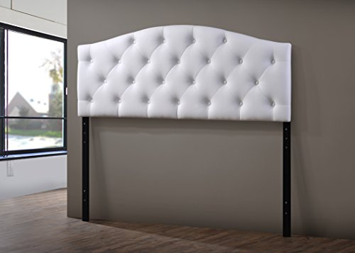 Baxton Studio Myra Modern and Contemporary Faux Leather Upholstered Button-Tufted Scalloped Headboard, Full, White (Leather Full Headboard)