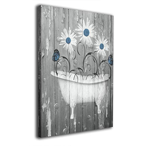 (Okoart Canvas Wall Art Prints Rustic Blue White Daisy Flowers Bath Decor -Photo Paintings Contemporary Decorative Giclee Artwork Wall Decor-Wood Frame Gallery Stretched 12