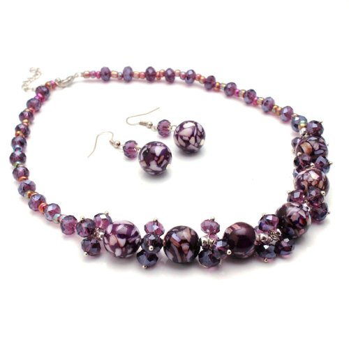 Amethyst Purple Mosaic Marble and Crystal Cluster Jewelry Set