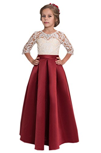 Datangep Girl's Prom Gown Sheer Lace 3/4 Sleeve Floor Length A-line Communion Party Dress Burgundy Age12