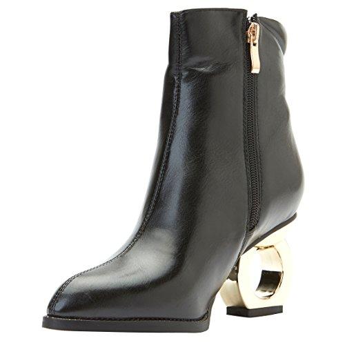 AIYOUMEI Damen Blockabsatz Klassischer Stiefel Reißverschluss Stiefeletten mit 8cm Absatz High Heels Elegant Stiefel 11epe