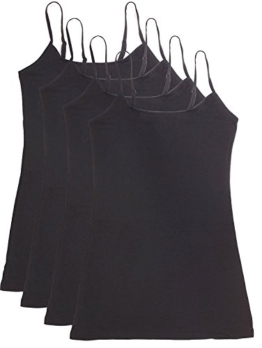 Cam Package (Active Basic Women's Basic Casual Plain Camisole Cami Top Tank Junior and Plus Sizes - 4 Pack Pack Deal)