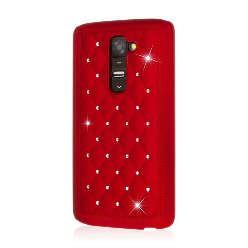 LG G2 Case, EMPIRE GLITZ Slim-Fit Case for LG G2 - Bling Accent Red (1 Year Manufacturer Warranty) (Not Compatible with Verizon / International Model) (Verizon Lg G2 Bling Case)