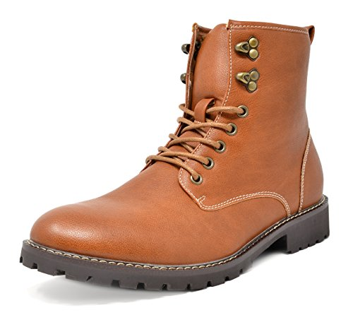 Bruno Marc Men's Stone Motorcycle Combat Dress Oxford Snow Boots
