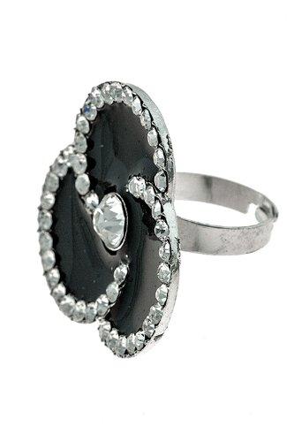 KARMAS CANVAS RHINESTONE FRAME THREE PETAL RING (Black)