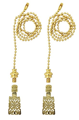 Royal Designs Fan Pull Chain with Rectangle Center Cross Filigree Finial - Polished Brass - Set of 2 ()