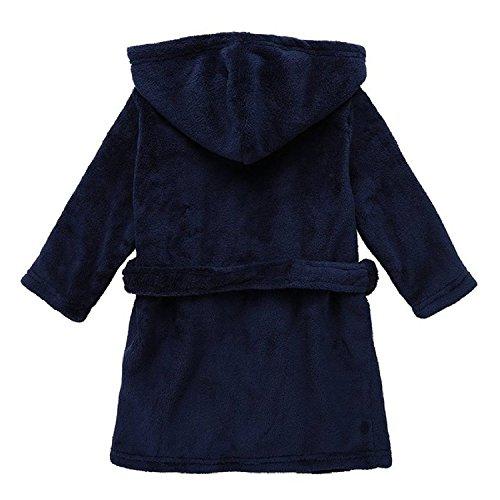 Yanzi6 Unisex-Baby Winter Soft Soft Coral Fleece Flush Hooded Bath Robe (9-12 Months,Deep-Blue),S