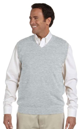 Devon & Jones Mens V-Neck Vest(D477)-Grey Heather-XL by Devon & Jones