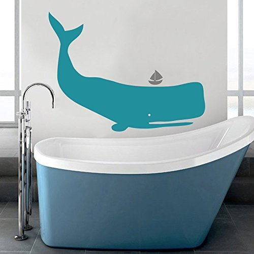 - Kids Room Wall Decal Murals - Baby Whales Wall Decal - Boys Nursery Decor Vinyl Decal(24'' x31'', teal+gray).