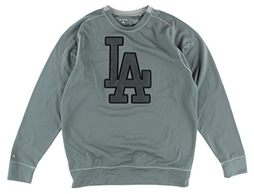 (Antigua Mens Los Angeles Dodgers MLB Carbon Crew Sweatshirt Grey M)
