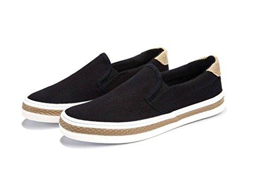 XIE Lady Shoes Simple Flat Bottom Zapatos de Lona Ocio cómodo Corriendo Estudiantes de Compras diarias Negro, 39 BLACK-37