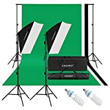 CRAPHY 50CMx70CM 2x125W 5500K Photography Video Studio Softbox Continuous Lighting Kit Equipment with 1.8Mx2.8M Muslin Backdrop Kits (Black,White,Green),3Mx2M Background Support System,Portable Bag