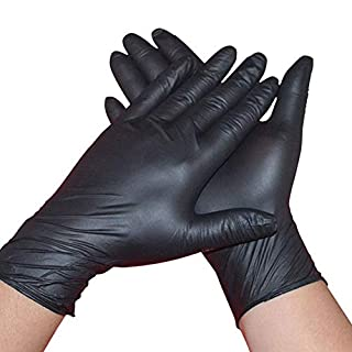 100/50/10 Pcs Disposable Tattoo Nitrile Gloves, Food Grade Powder-Free Latex-Free Beauty Care Gloves, Water-Proof Oil-Proof Home Cleaning Gloves, Industrial Black Rubber Gloves (100pcs, M)