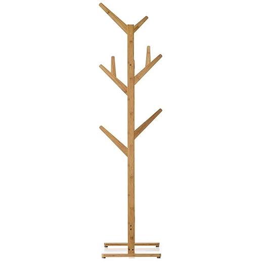 Perchero de pie Perchero de piso de bambú, perchero 2 en 1 ...