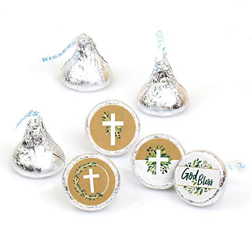 Elegant Cross - Religious Party Round Candy Sticker Favors - Labels Fit Hershey's Kisses (1 Sheet of 108)