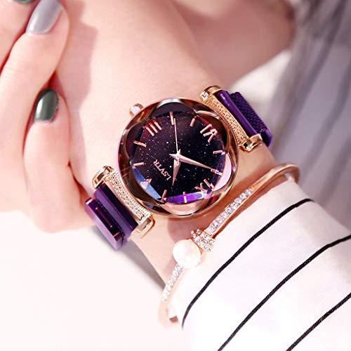 (FSWH LT Women's Watch, Star Magnet Magnet Watch Waterproof Watch Star Watch Diamond Watch Personality Fashion Watch Cut Dial Sky Star Knit Strap Bracelet Student Watch,Purple)