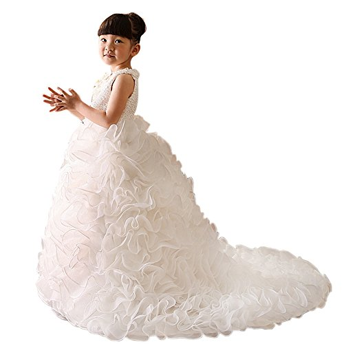 Dressy Daisy Girls' Luxury Lace Organza Ruffle Tiered Flower Girl Dresses Party Ball Dress w/Train Size 2-3T Ivory ()