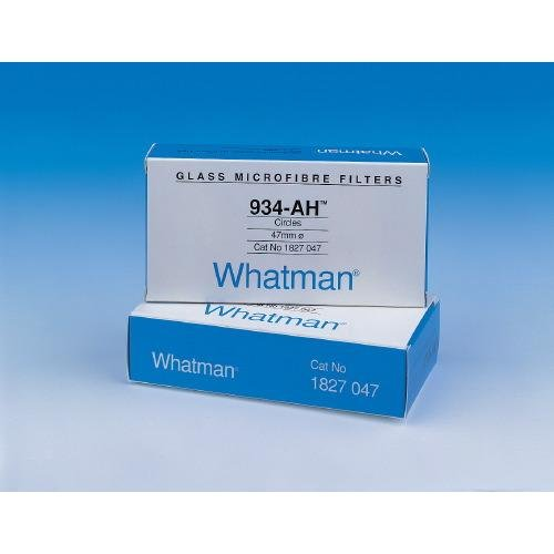 Whatman 1827-047 Glass Microfiber 934-AH Binder Free Filter, 0.5psi Wet Burst, 3.7 s/100mL/sq-inch Air Flow Rate, 47mm Diameter (Pack of ()