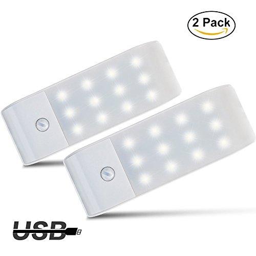 Luces de Noche LED,GPISEN Pack de 2 Luces con Sensor de Movimiento,Lampara Nocturna USB Recargable,Luz inalambrica calida para Escaleras, Guardarropa, Porche, Armario, Cocina, Dormitorio