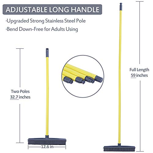 Push Broom - Soft Bristle 59'' Rubber Broom Carpet Sweeper with Squeegee Adjustable Long Handle, Removal Pet Human Hair by NZQXJXZ (Image #2)