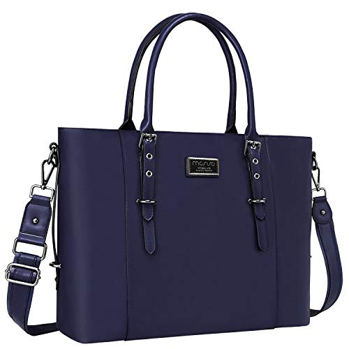 MOSISO Laptop Tote Bag for Women (Up to 15.6 Inch),Water Resistant PU Leather Large Capacity with Padded Compartment Business Work Shoulder Briefcase Handbag Compatible MacBook & Notebook,Navy Blue