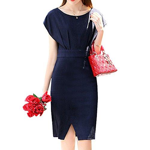 Vestido Dissa Azul Mujer Corta Manga Cóctel Para qCdC1R
