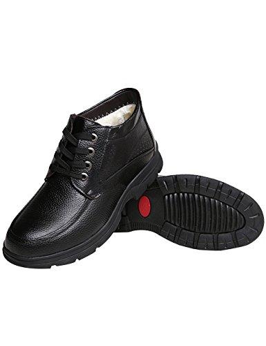 Zoulee Winter Hombres Warm Zapatos De Encaje De Cuero Más Grueso Dad Zapatos Black