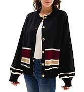 GRACE KARIN Women's Lantern Long Sleeve Knitted Cardigan Sweater Button Down Contrast Crewneck Op...
