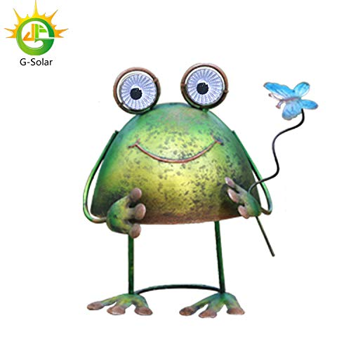 (GDF Solar Metal Art Outdoor Patio Decorative,Christmas Lights,Animal Garden Decor,LED Lawn Metal Decorative,Frog Statue,Halloween Light,Christmas Yard)