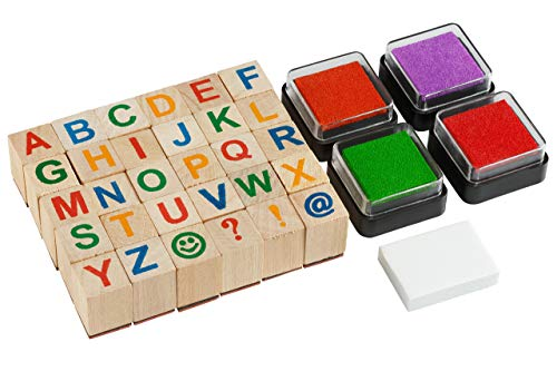 Moore: Premium Wooden Alphabet Stamp Set - 34 Piece Set of Capital Letters Stamps with 4 Color Ink Pads
