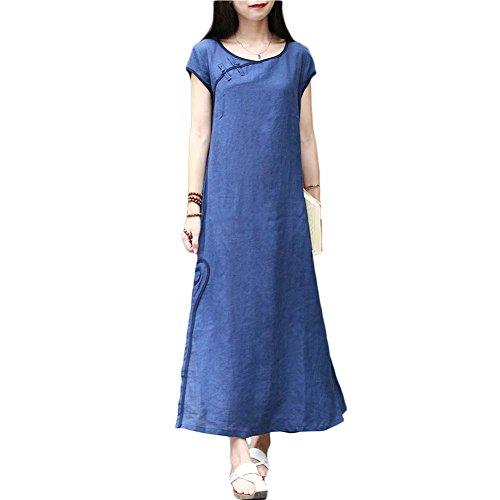 Short Sleeve Cheongsam Dress - LZJN Women Long Dress Chinese Cheongsam Style Short Sleeve Casual Dress (Blue)