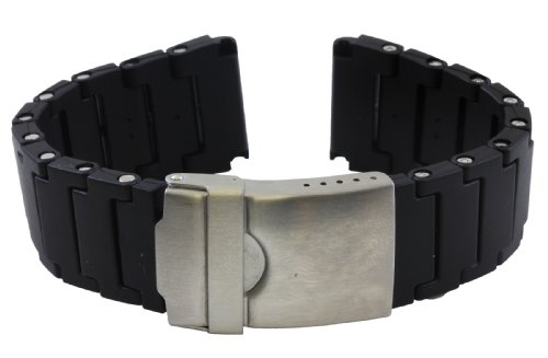 Replacement Black Polyurethane Link Bracelet Band for Luminox 20mm PU66