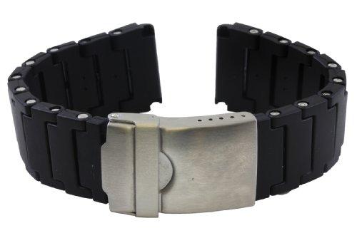 Replacement Black Polyurethane Link Bracelet Band for Luminox 20mm - Pvc Mens Bracelets
