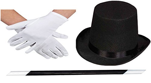 ADULT BLACK TOP HAT MAGIC WAND MAGICIAN WHITE GLOVES MAGIC SET FANCY DRESS (Hat+Wand+Gloves) by Glossy (Fancy Dress Magician)